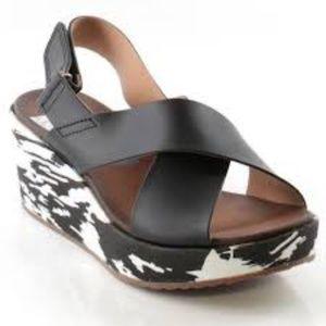 Clarks Stasha Hale Black Platform Sandals Size 10